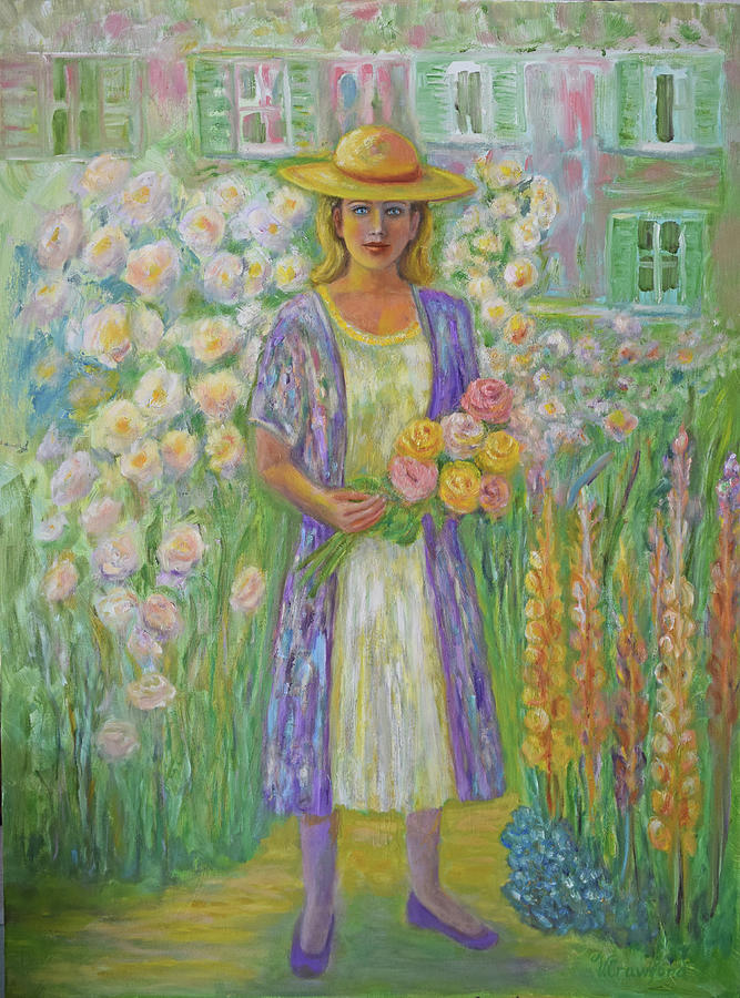 Young Woman Painting - Girl In Monets Garden At Giverny by Verlaine Crawford
