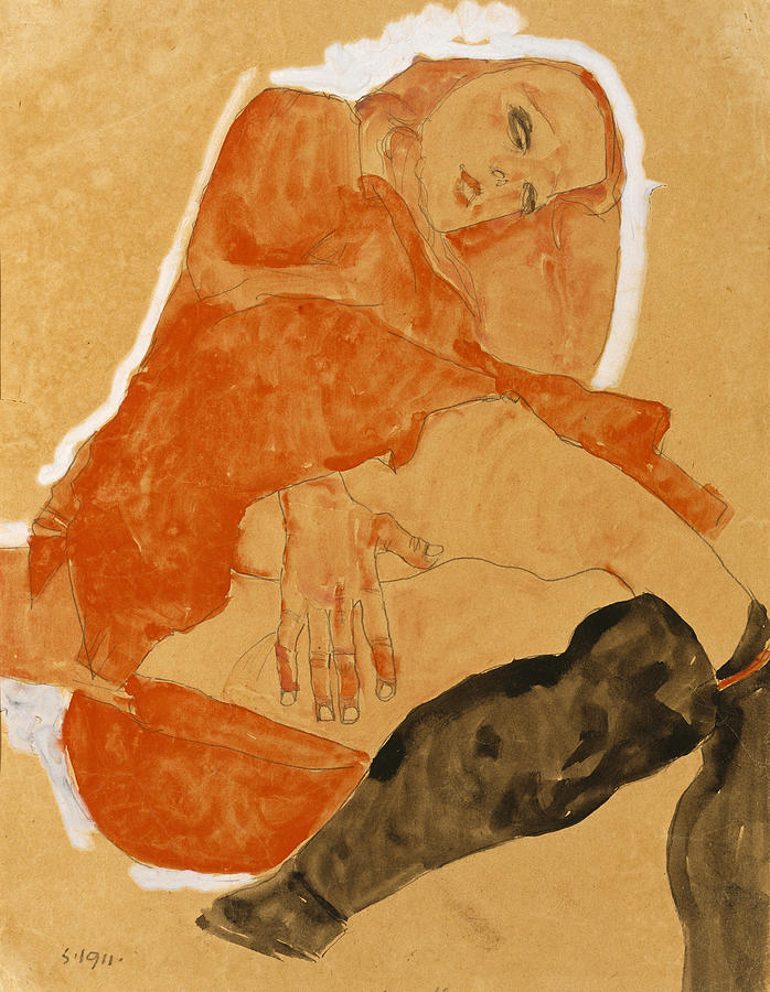Egon Schiele Drawing - Girl In Red Robe And Black Stockings by Egon Schiele
