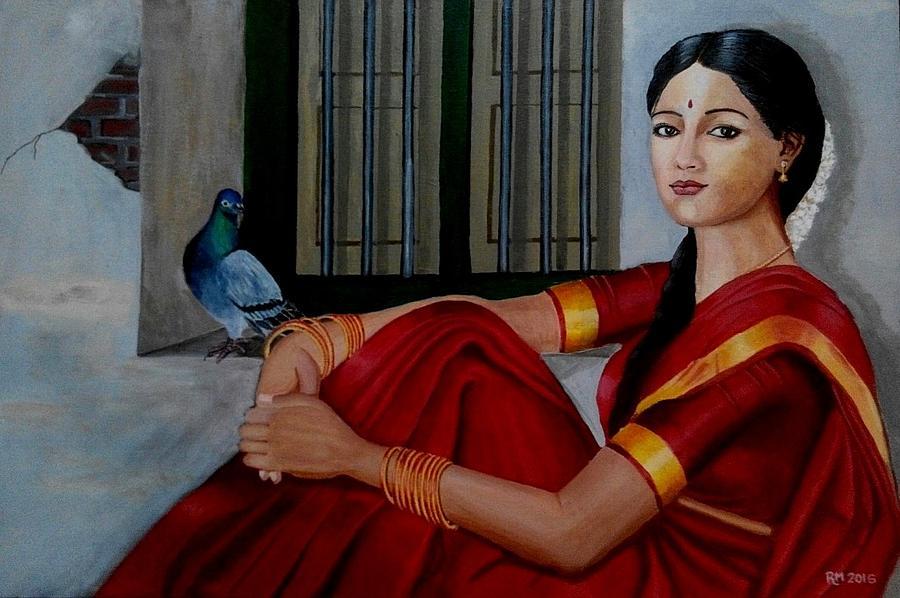 Girl in red Sari Painting by Ramesh Mahalingam