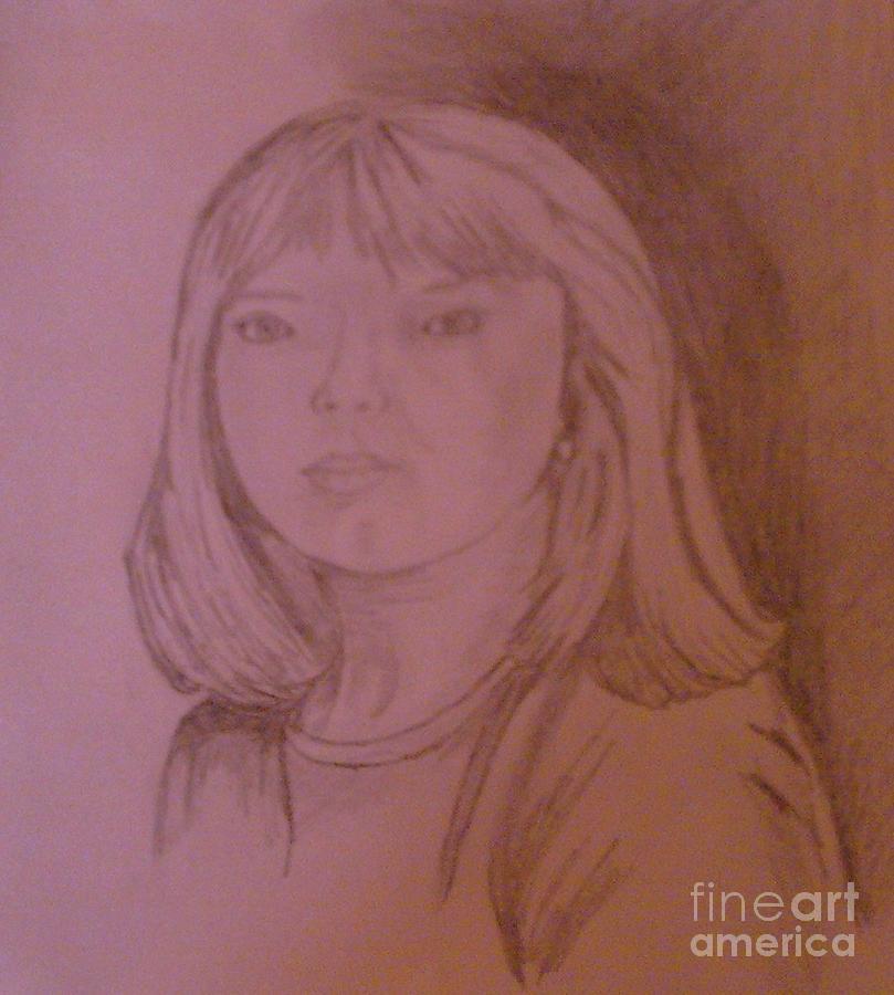 Girl In Shadow Drawing by Helen Vanterpool