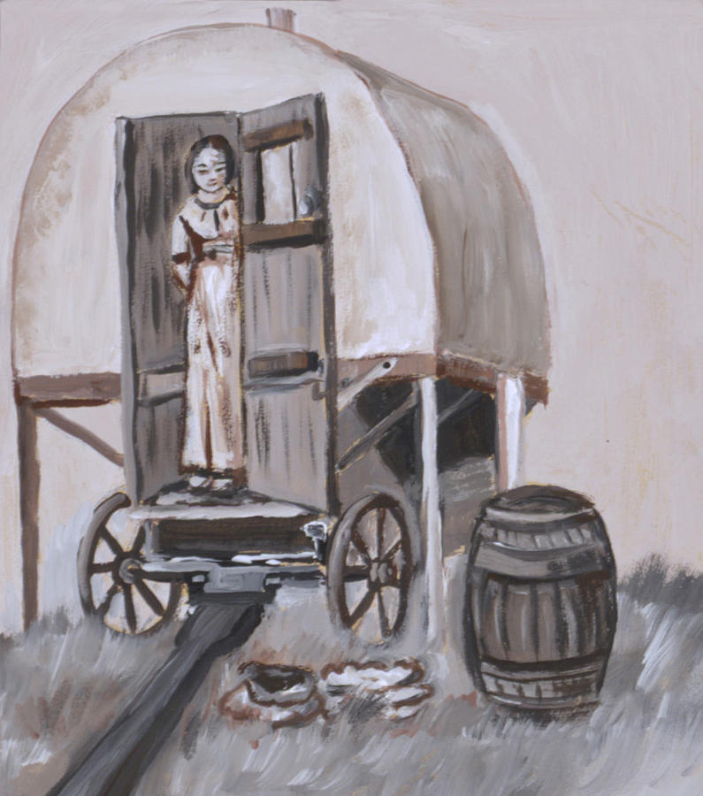 Western Painting   Girl In Sheep Wagon Historical Vignette By Dawn  Senior Trask