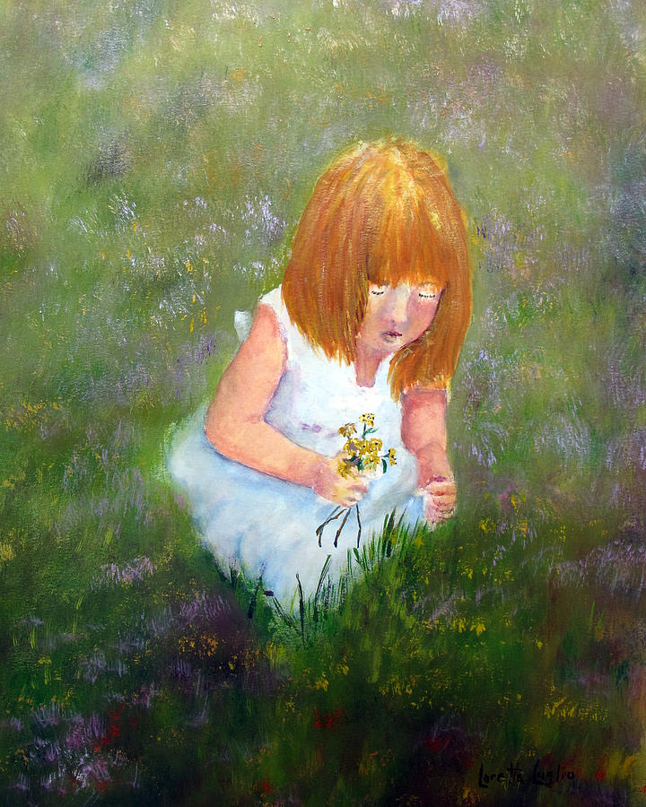 Child Painting - Girl In The Meadow by Loretta Luglio