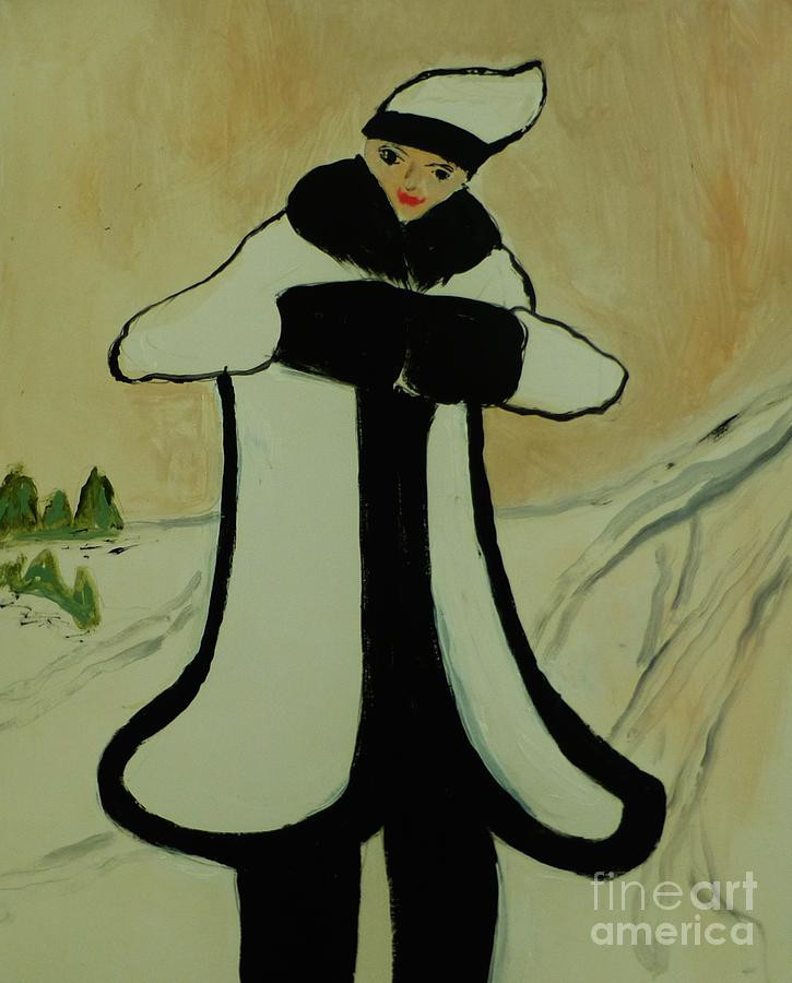 Art Deco Painting - Girl In The Snow by Marie Bulger