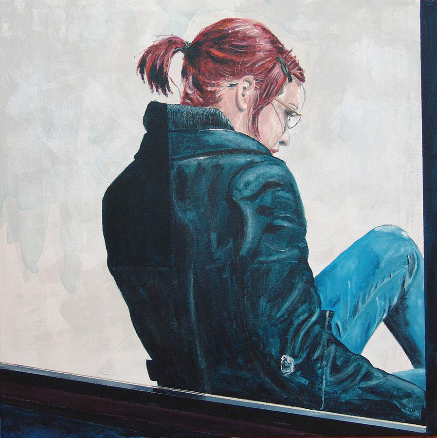 Kevin Callahan Painting - Girl In The Window-sfai by Kevin Callahan