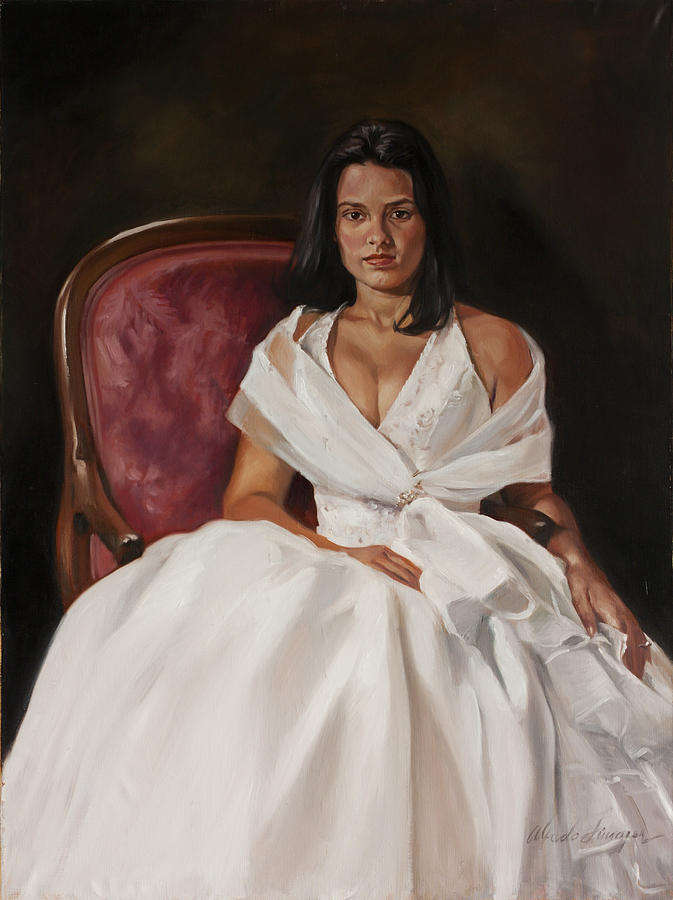 Girl In White Dress Painting by Alfredo Linares