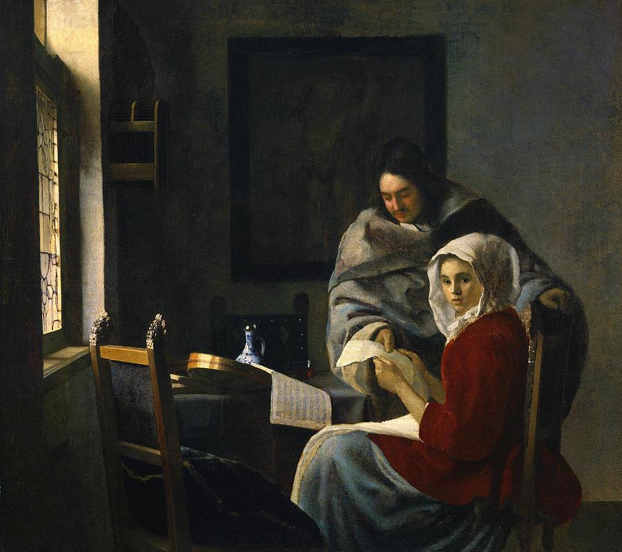 Jan Vermeer Painting - Girl Interrupted At Her Music by Jan Vermeer