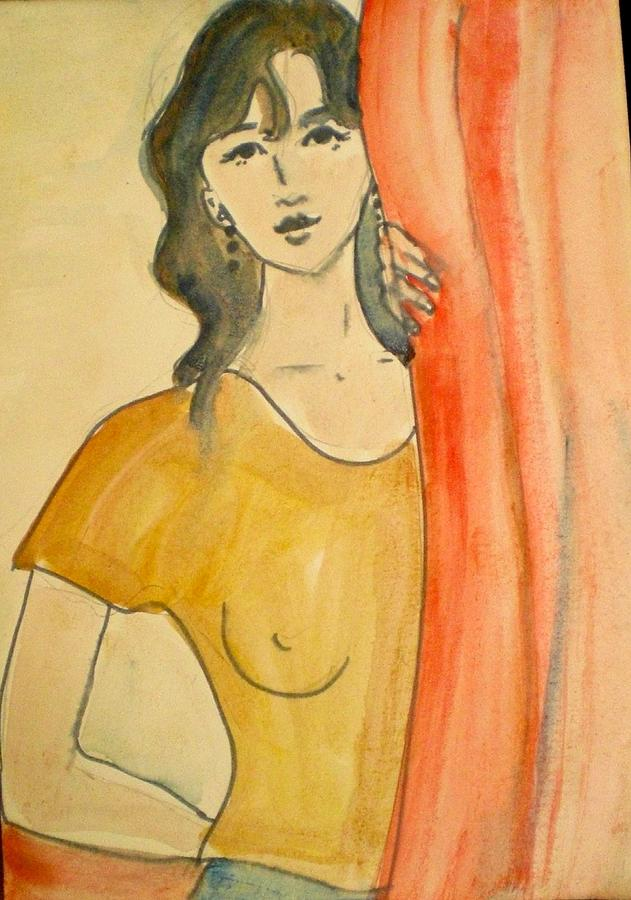 Girl Painting - Girl Looking Through The Curtain by Maria Rosaria DAlessio