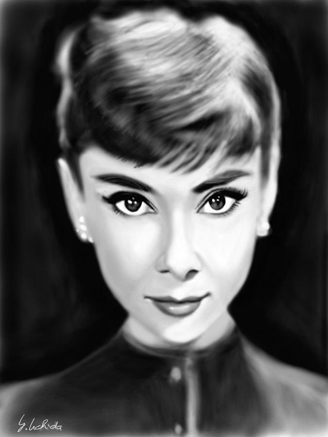 Ipad Painting - Girl No.204 Audrey Hepburn by Yoshiyuki Uchida