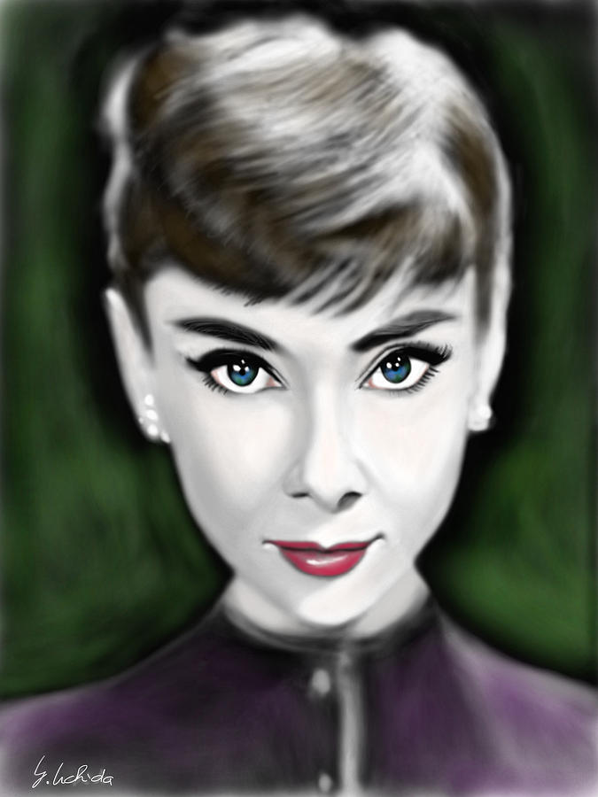 Ipad Painting - Girl No.205 Audrey Hepburn by Yoshiyuki Uchida