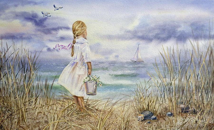Girl Painting - Girl And Ocean Watercolor by Irina Sztukowski