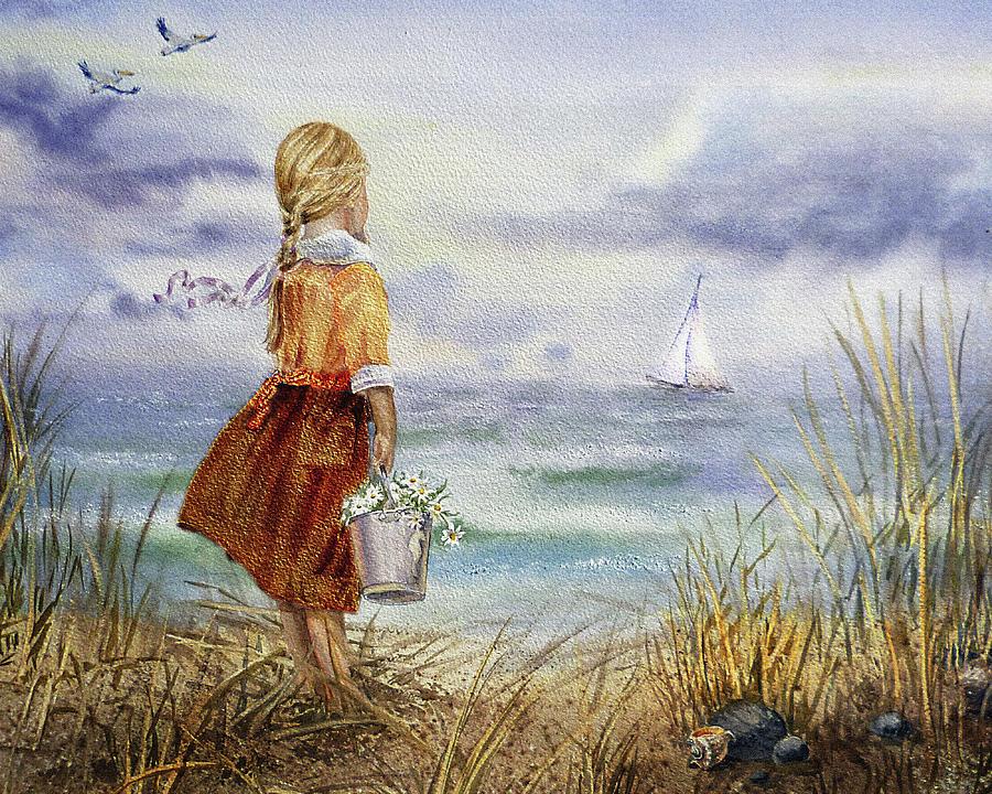 Girl Ocean Shore Birds And Seashell by Irina Sztukowski