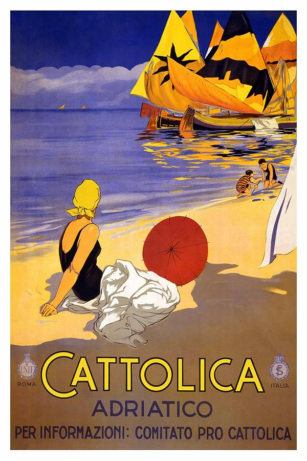 Girl On A Beach In Cattolica Rimini Italy - Vintage Travel Poster Painting
