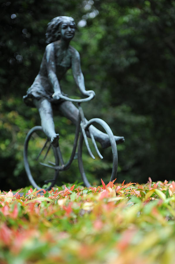 Sculpture Photograph - Girl On A Bicycle by Jessica Rose
