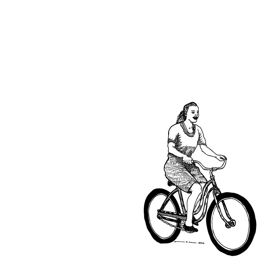 Girl On A Bike Drawing By Karl Addison