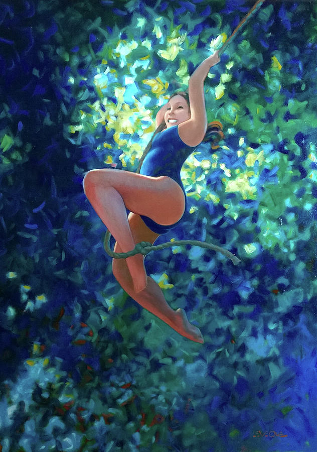 Swinging Painting - Girl On A Rope by Kevin Lawrence Leveque