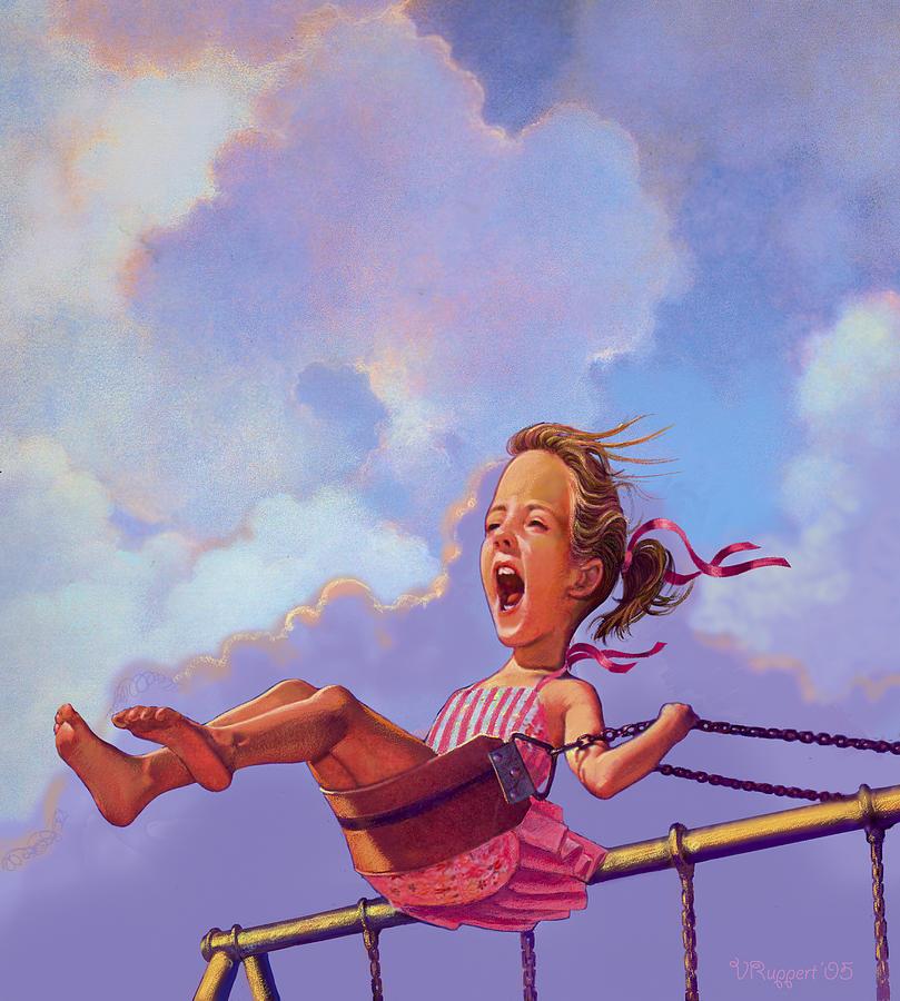 Girl Pastel - Girl On A Swing by Valer Ian
