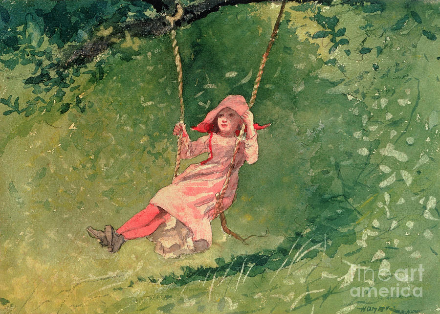 Girl On A Swing (w/c & Pencil On Paper) By Winslow Homer (1836-1910) Painting - Girl On A Swing by Winslow Homer