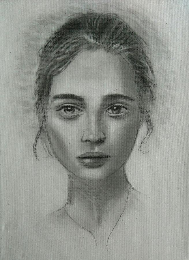 Girl Drawing - Girl On Canvas by Paul Blackmore