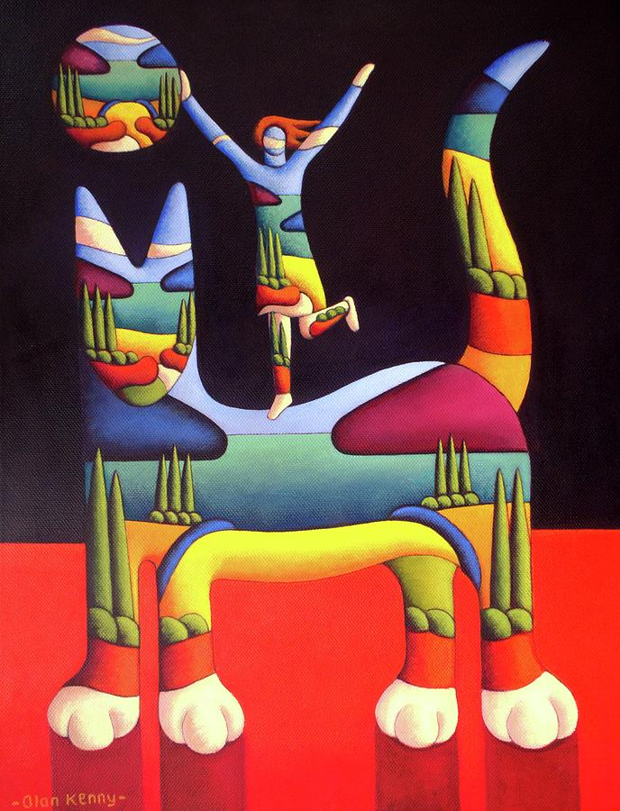 Girl on cat in landscape in cat by Alan Kenny