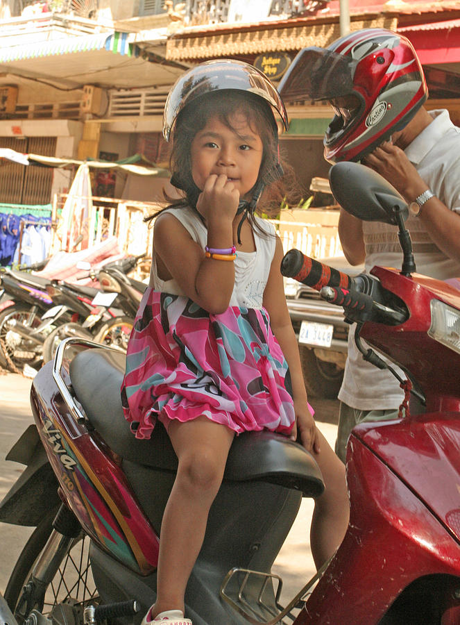 Cambodia Photograph - girl on Honda by David Wenman
