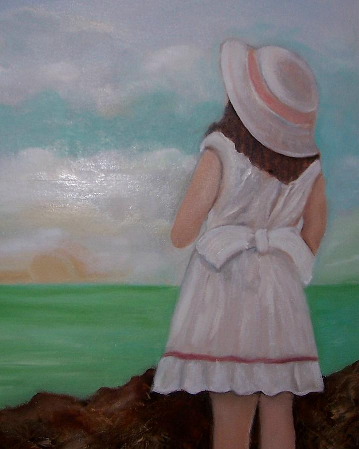 Children Painting - Girl On The Beach by Martha Mullins
