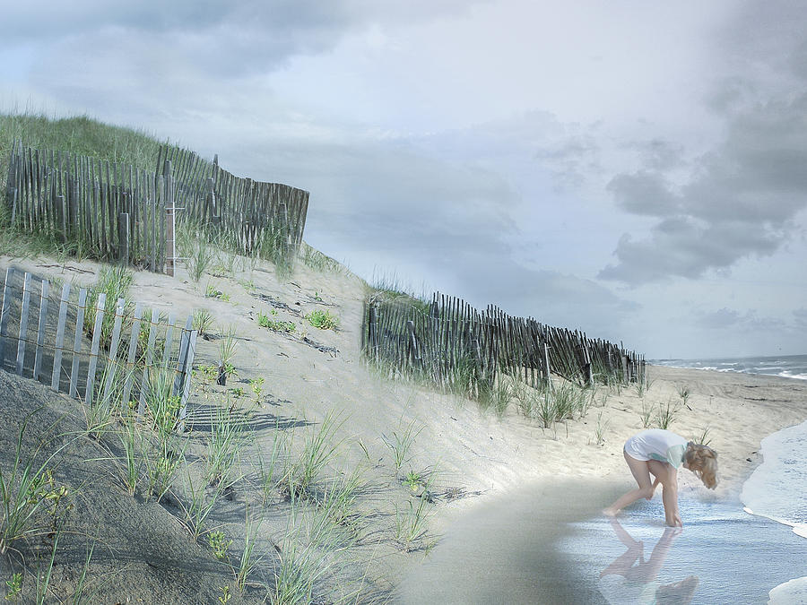 Ocean Digital Art - Girl Picking Up Sea Shells by Robert Huber