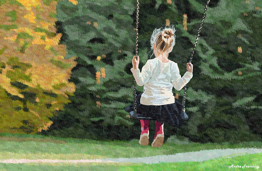 Girl Digital Art - Girl Playing Outside by Andre Tremblay