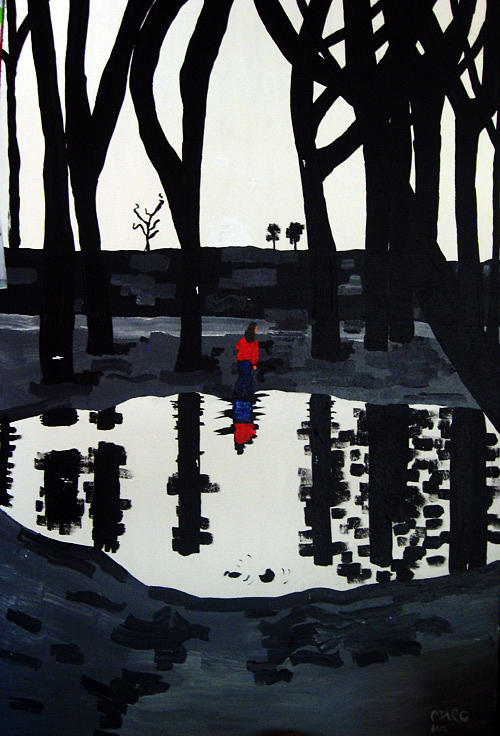 Girl Pond Wood Painting by Marc Waller