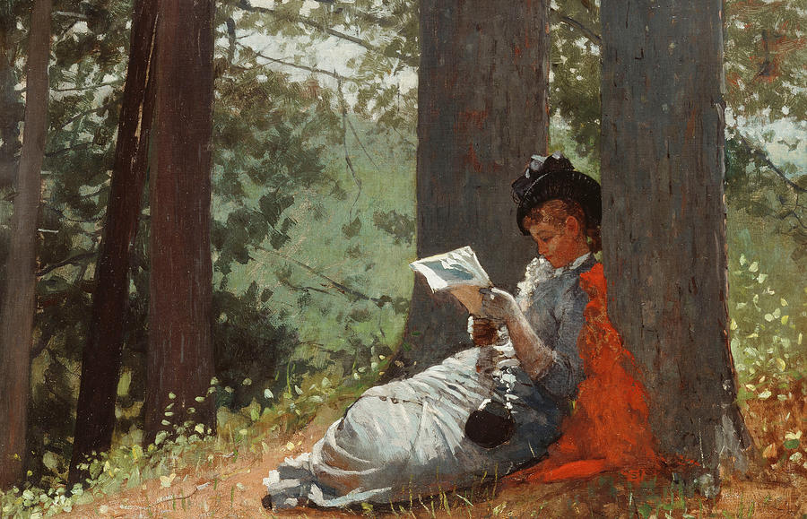 1879 Painting - Girl Reading Under An Oak Tree by Winslow Homer