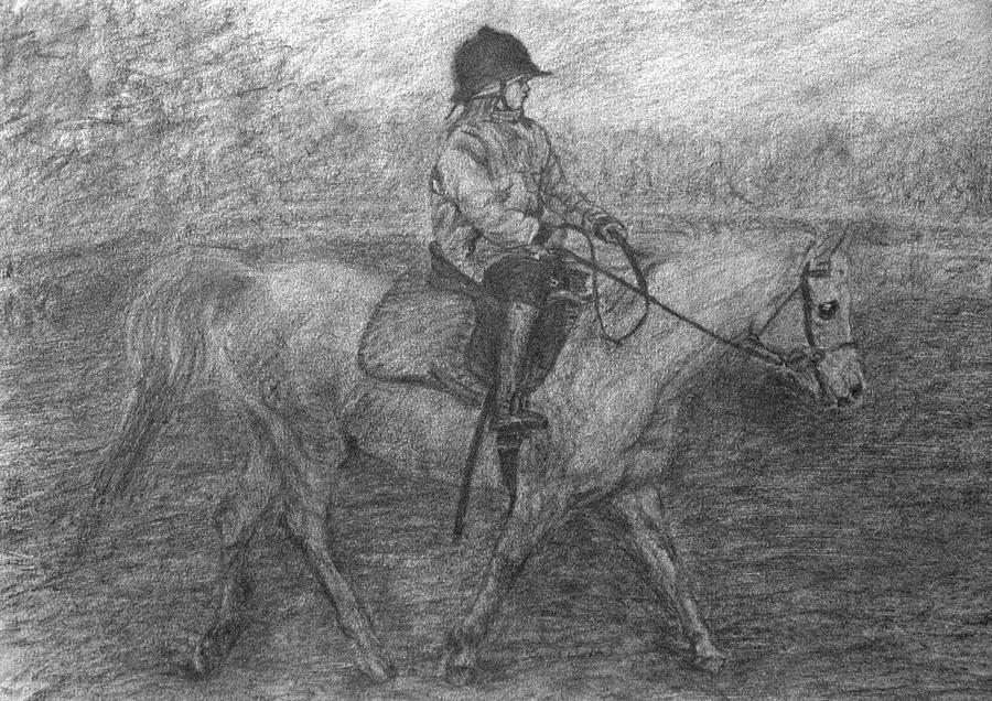 Girl Drawing - Girl Riding A Horse 2 by Sami Tiainen