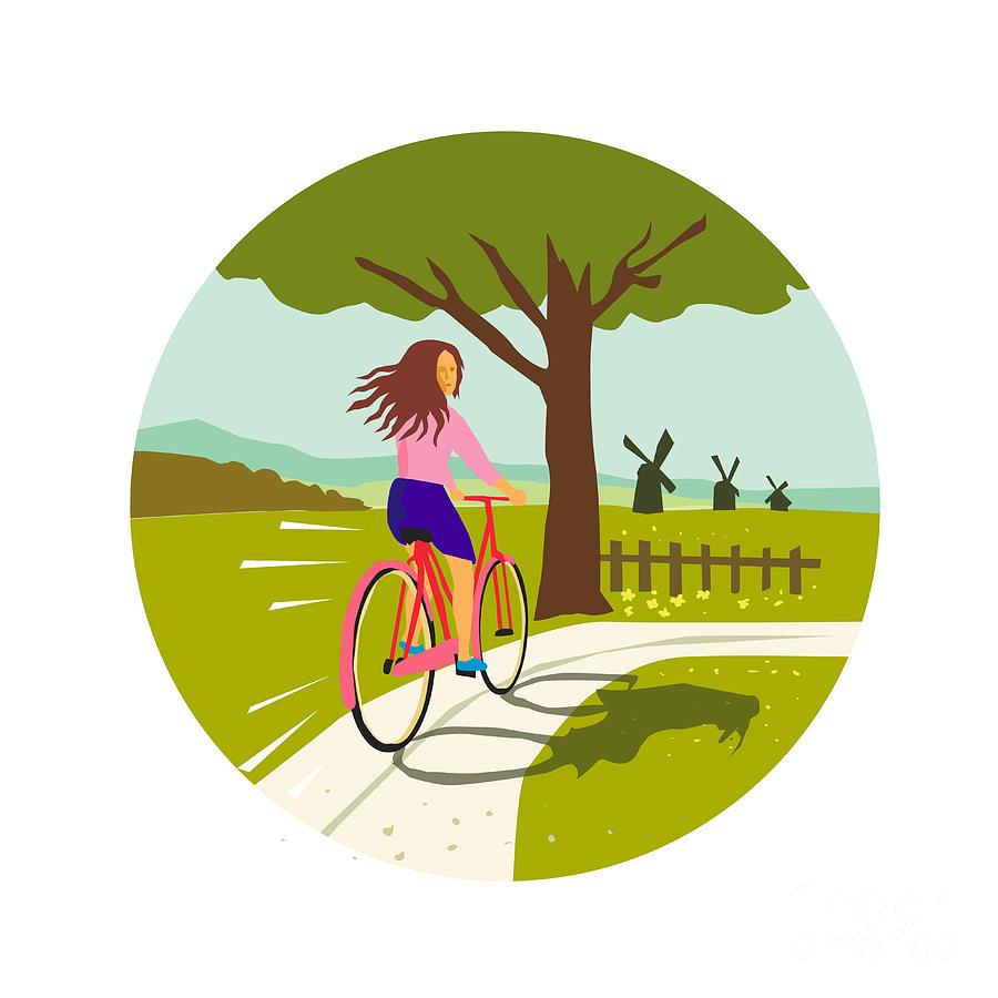 Girl Riding Bicycle Up Tree Circle Retro Digital Art by Aloysius ...
