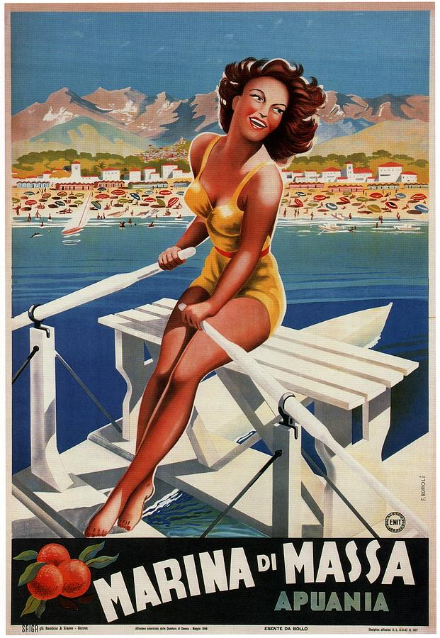 Italy Painting - Girl Rowing a boat in Marina di Massa, Italy - Vintage Travel Poster by Studio Grafiikka