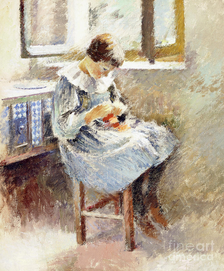 Robinson Painting - Girl Sewing by Theodore Robinson