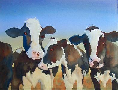 Cows Painting - Girl Talk II by Gail Ribas