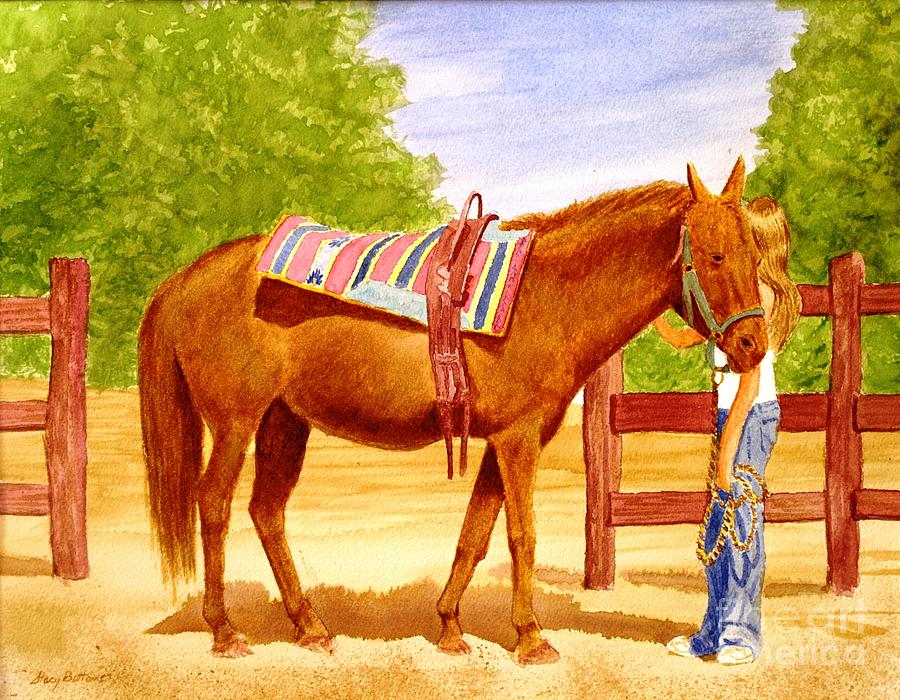 Equine Painting - Girl Talk by Stacy C Bottoms