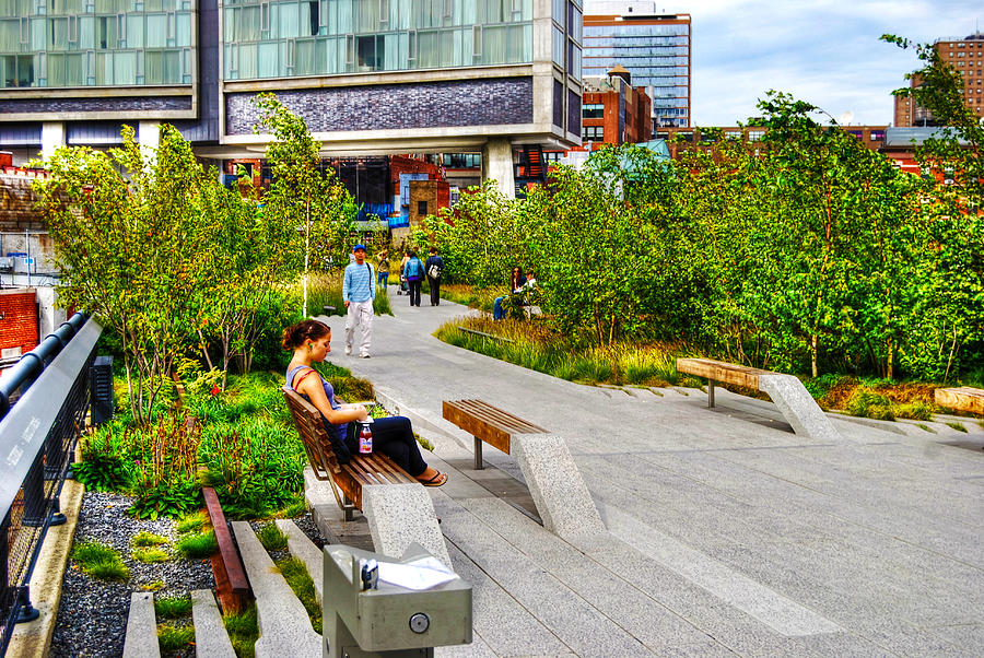 High Line Park Photograph - Girl Uninterrupted On The High Line by Randy Aveille