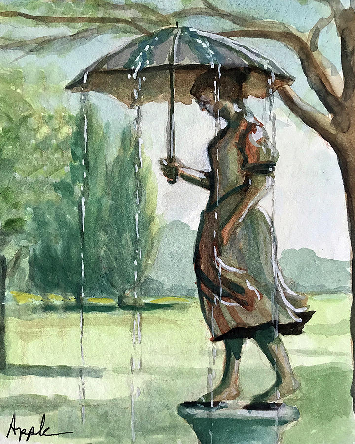 Girl w/Umbrella by Linda Apple