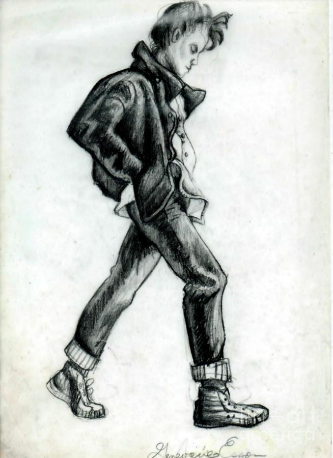 Girl Walking Self Portrait Drawing