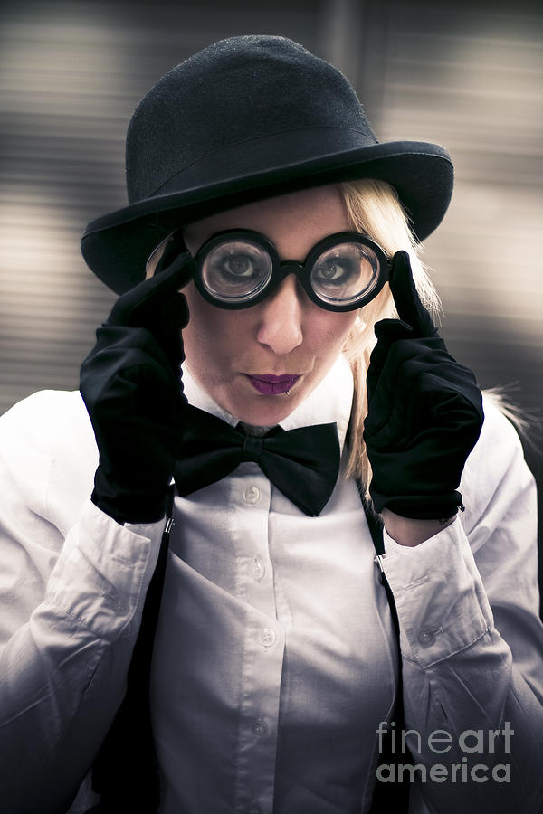 Girl Wearing Silly Glasses Photograph