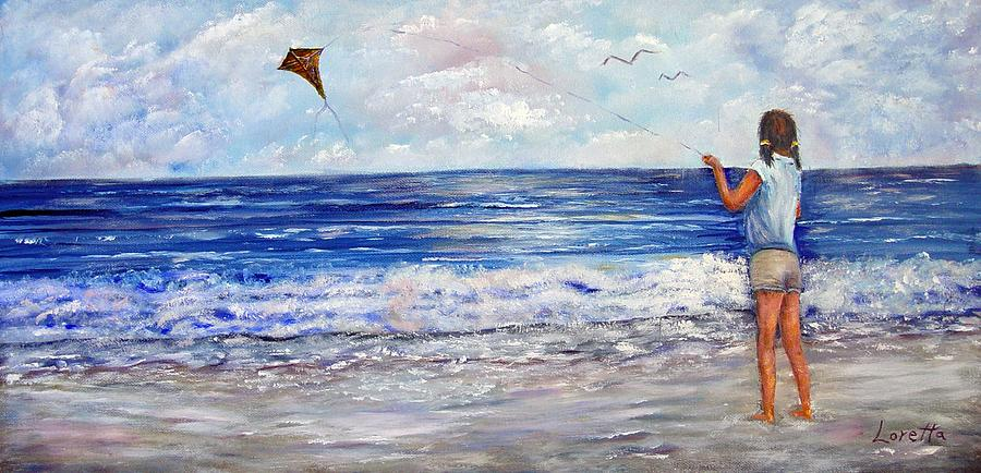 Kite Painting - Girl With A Kite by Loretta Luglio