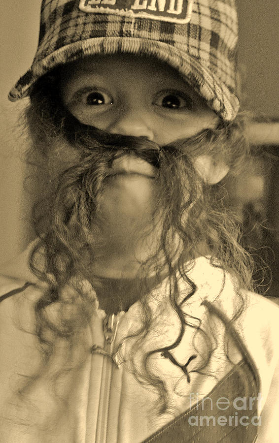 Girl Photograph - Girl With A Mustache 1 by Sarah Goodbread