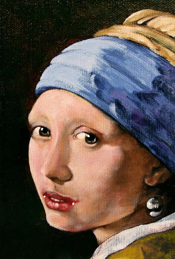Portrait Painting - Girl With A Pearl Earring A Reproduction Of Vermeer by Joan Garcia