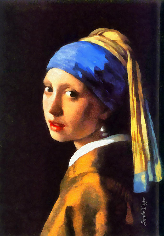 Adult Painting - Girl With A Pearl Earring By Johannes Vermeer Revisited by Leonardo Digenio