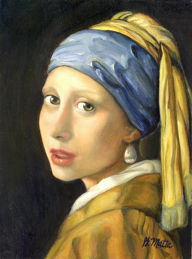 Portrait Painting - Girl with a Pearl Earring by Gretchen Matta