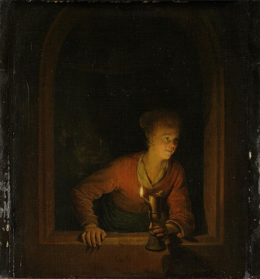 Painting Painting - Girl With An Oil Lamp At A Window by Gerard Dou