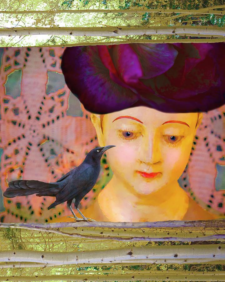 Mexico Digital Art - Girl With Bird by Annie Omens