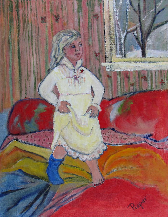 Young Girl On Bed Painting - Girl With Blue Sock And Red Toe Nails by Betty Pieper