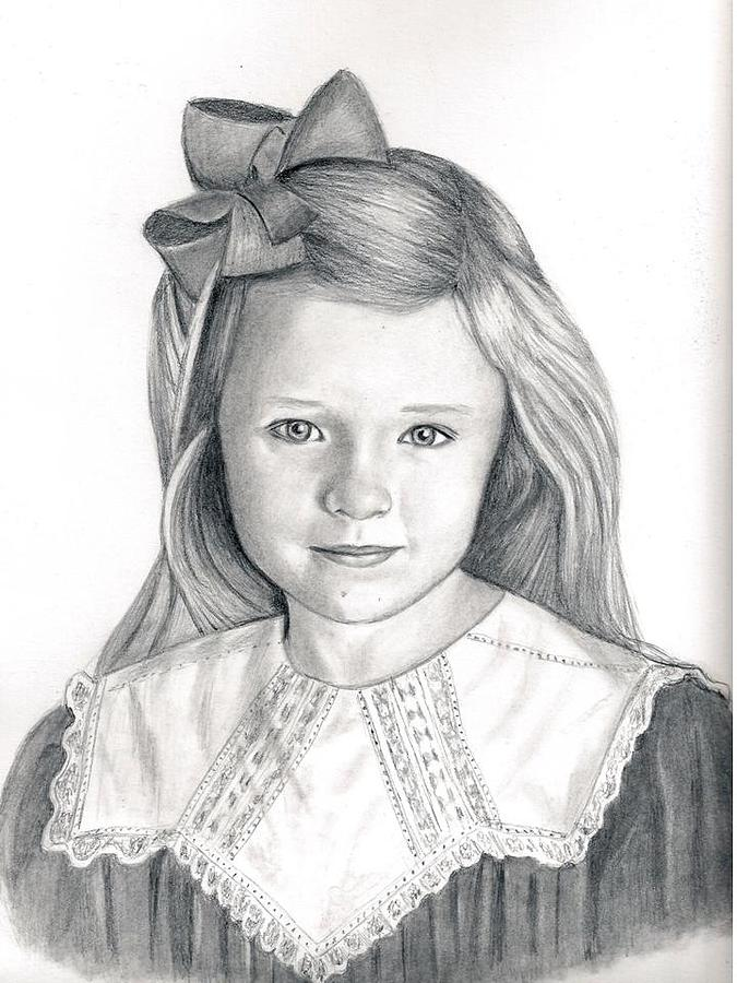 Charcoal Drawing - Girl With Bow Portrait by Raissa Davis
