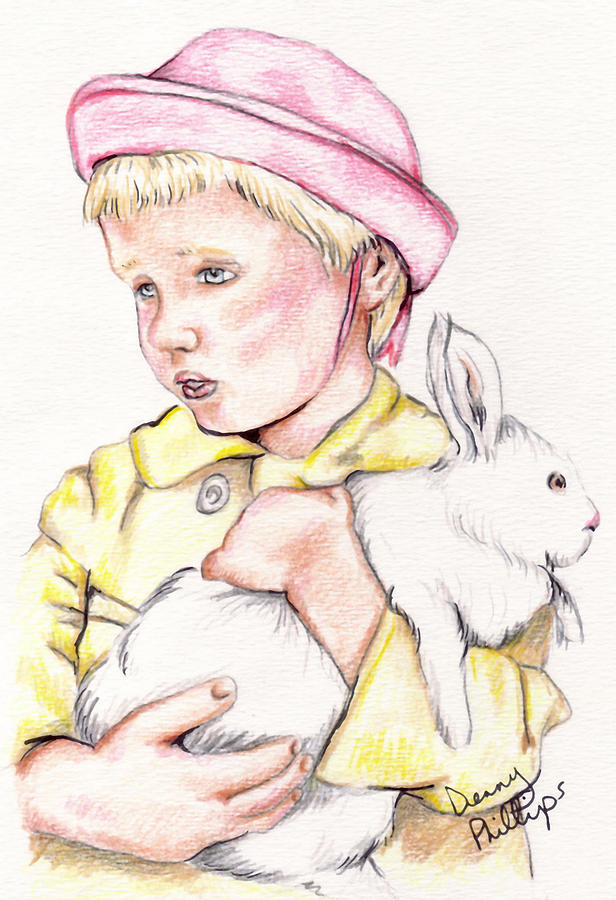 Girl Drawing - Girl With Bunny by Denny Phillips