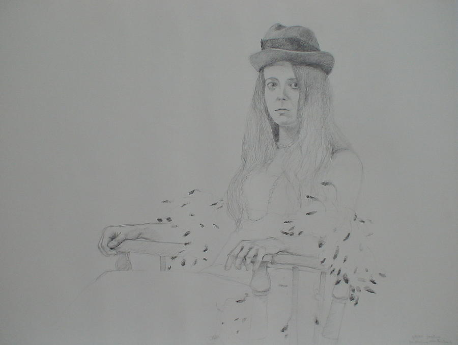 Portrait Drawing - Girl With Feather Boa by Jackie Hoats Shields